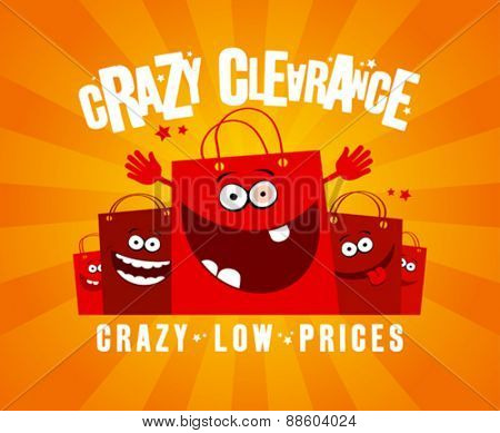 Crazy clearance design template with funny shopping bags