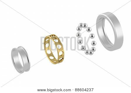 Disassembled metal bearing