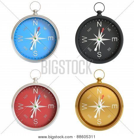 Set of compasses isolated on white background.