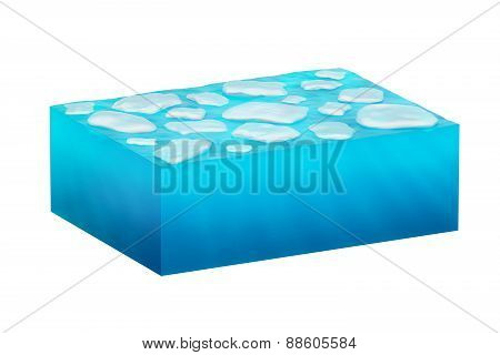 isolated cube of ice water