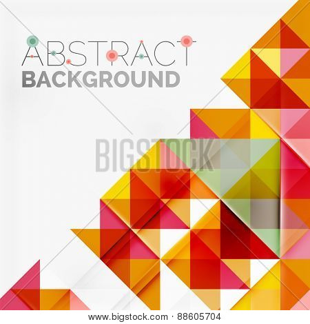 Abstract geometric background. Modern overlapping triangles. Unusual color shapes for your message. Business or tech presentation, app cover template