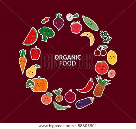 card with fruit and vegetables. Organic food