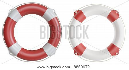 Set of life buoys. 3d illustration high resolution