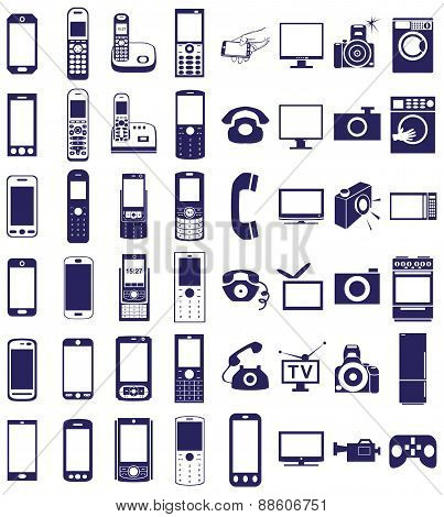 Telephone, Equipment Icons On White