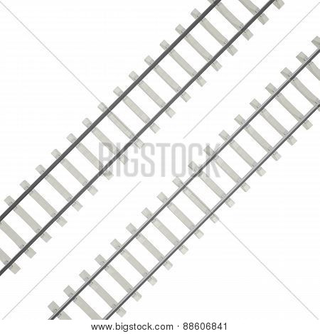 Group railways at an angle isolated on white background