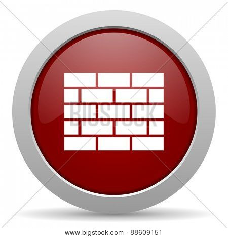 firewall red glossy web icon