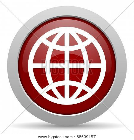 earth red glossy web icon