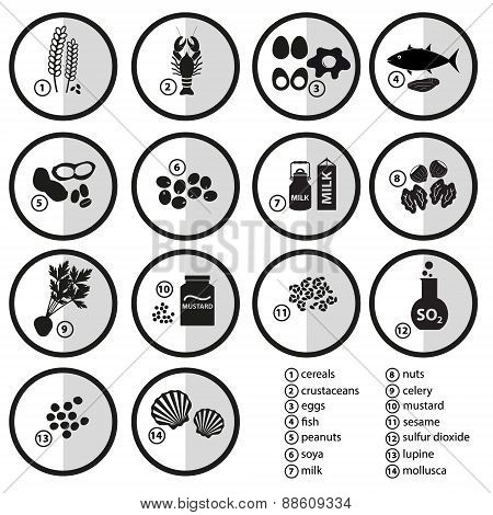 Grayscale Set Of Typical Food Alergens For Restaurants Eps10
