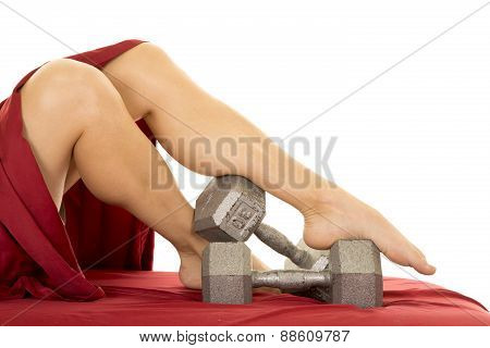 Woman Legs With Sheet Weights By Feet
