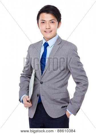 Businessman carry with notebook computer