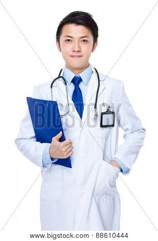 Young asian doctor with clipboard