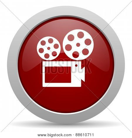 movie red glossy web icon