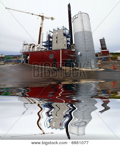 Construction Site, New Bio Fuel Power Plant  With Reflection