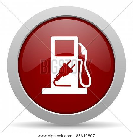 fuel red glossy web icon