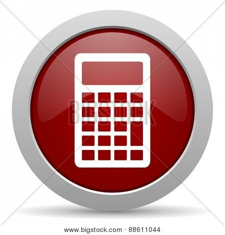 calculator red glossy web icon