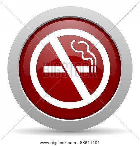 no smoking red glossy web icon