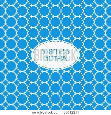 Geometric blue lattice seamless arabic pattern. Islamic oriental style. Wrapping paper. Scrapbook