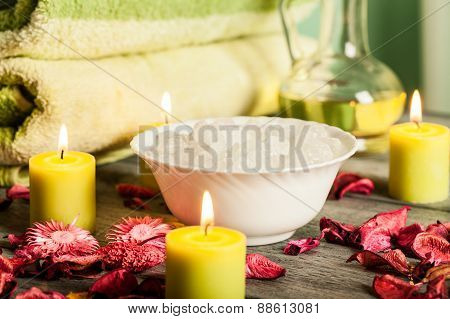 Spa Still Life: Aromatherapy Candle And Other