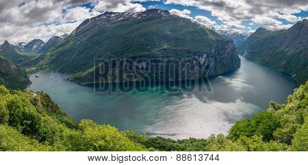Whole Geirangerfjord In Panorama