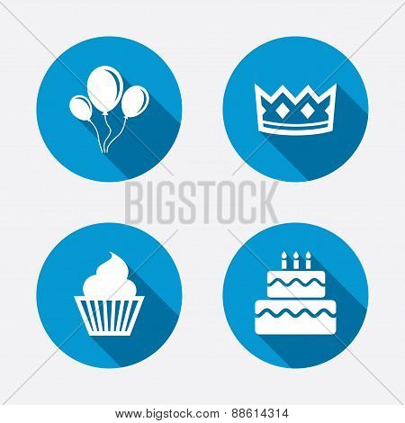 Birthday party icons. Cake and cupcake symbol.
