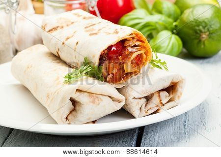Mexican Burritos On A Plate
