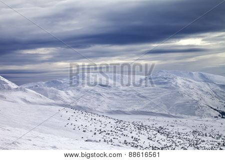 Winter Mountains And Gray Sky