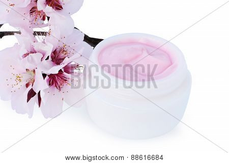Cosmetic Cream With Cherry Blossoms Isolated