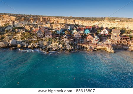 Popeye village at Malta. It was built as a film set for film Popeye and today it is one of the major tourist attractions on the Maltese Islands.