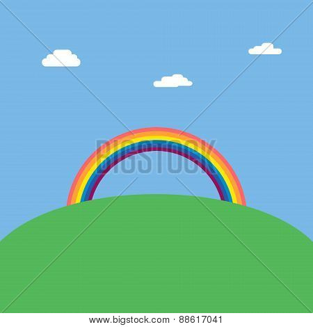 Landscape background with rainbow over green hill vector illustration