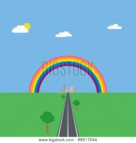 Landscape background of green nature with blue sky and road to city under rainbow