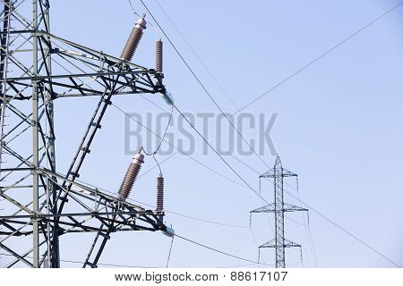 Electrical Insulators On High Voltage Pylon