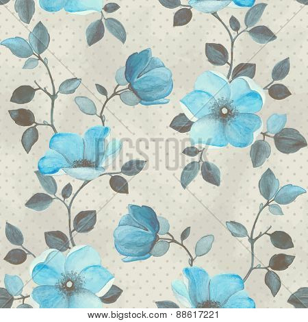 Watercolor seamless floral pattern with turquoise flowers, vector illustration in vintage style.