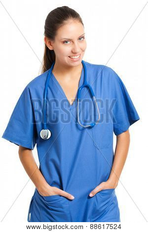 Portrait of a friendly female nurse on white background