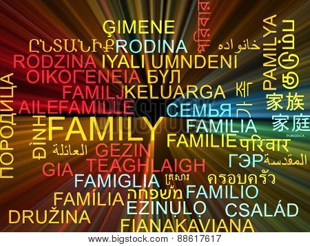 Background concept wordcloud multilanguage international many language illustration of family glowing light