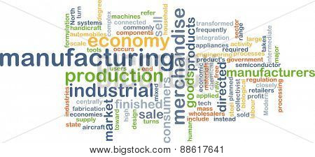 Background text pattern concept wordcloud illustration of manufacturing