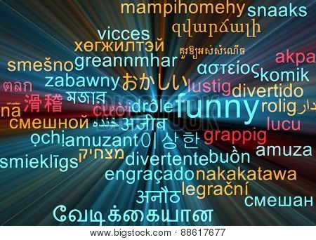 Background concept wordcloud multilanguage international many language illustration of funny glowing light