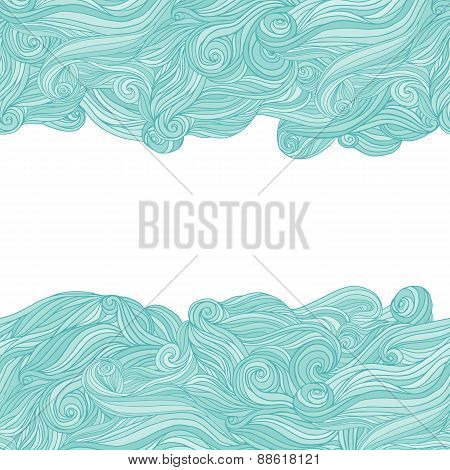 Abstract wavy hand-drawn pattern waves frame.