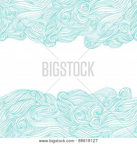 Abstract wavy hand drawn pattern waves frame.
