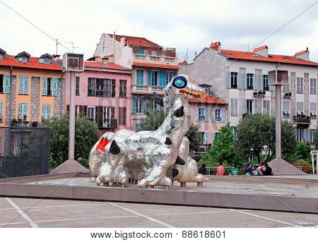 Modern Sculpture Loch Ness Monster In Nice, France