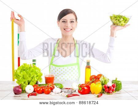 Happy Woman With Salad And Measuring Tape.