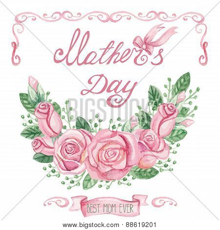 Watercolor pink roses group.Mothers day Greeting card