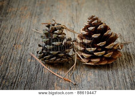 Two Fir Cones With Wooden Background