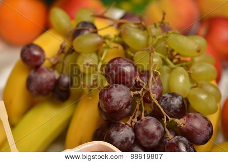 Fruit Platter With Banana And Grapes
