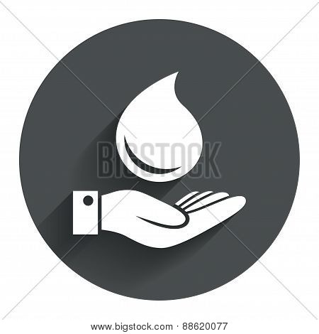Water drop and hand sign. Save water symbol.
