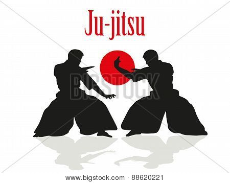 Two Men Are Engaged In Ju-jitsu Fight.