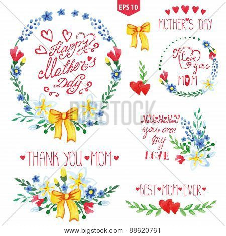 Watercolor floral goup,heart,headlines set.Mother day decor