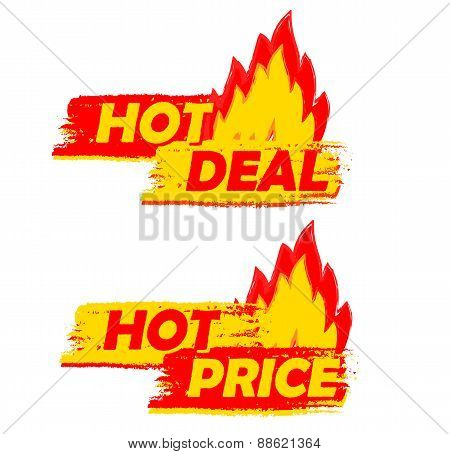 Hot Deal And Price On Fire, Yellow And Red Drawn Labels With Flames Signs