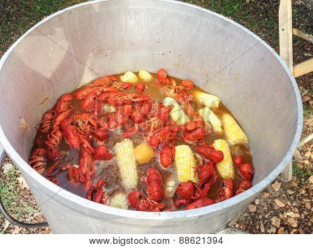 Kettle Full Of Crawfish At A Crawfish Boil