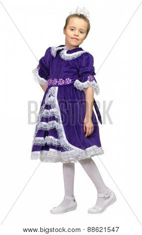 Little girl in purple dress isolated