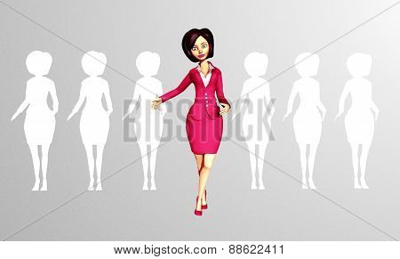 Confident 3D Digital Businesswoman Standing out of the Crowd
